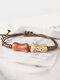 Vintage Ethnic Geometric-shape Beaded Braided Ceramics Wax Rope Bracelets - #01