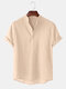 Mens Breathable Flax Stand Collar Short Sleeve Solid Henley Shirt - Khaki