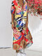 Printed V-neck Turn-down Collar Buttons Short Sleeve Maxi Shirt Dress - Multi Color
