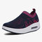 Women Knitted Breathable Sports Casual Cushioned Slip On Sneakers - Dark Blue