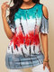 Printed Half Sleeve Off The Shoulder T-shirt For Women - Red