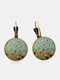 Vintage Geometric Round Alloy Glass Floral Daisy Pattern Print Earrings - Bronze