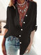 Solid Color Long Sleeve Stand Collar Casual Shirt For Women - Black