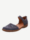 Women Solid Color Hollow Out Casual Large Size Comfortable Sandals - Blue