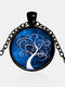 Vintage Gemstone Glass Printed Women Necklaces Colored Tree Of Life Pendant Necklaces - #08