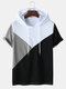 Mens Tricolor Patchwork Short Sleeve Casual Hooded T-Shirt - White