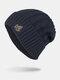 男性冬Plusベルベット刺繡葉縞模様屋外ニット暖かいビーニー帽子 - ネービー