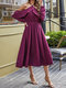 Solid Color Off-shoulder Ruffle Big Swing Casual Sexy Dress - Purple