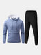 Mens Stretch Cotton Contrast Color Hoodie Jogger Pants Sport Fitness Casual Two-Piece Set - Blue