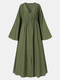 Solid Color Pleated Bell Sleeve V-neck Plus Size Button Dress for Women - Army Green