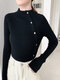 Solid Color Long Sleeve Half-collar Button Sweater For Women - Black