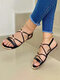 Women Brief Solid Color Knotted Design Opened Toe Gladiator Sandals - Black
