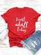 Casual Letter Printed Short Sleeve O-neck T-Shirt For Women - Red