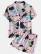 Plus Size Women Cartoon Bird Print Revere Collar Shirt & Shorts Pajama Sets - Pink