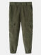 Mens Corduroy Solid Colo Zipper Fly 100% Cotton Utility Jogger Pants - Green