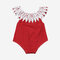 Baby Lace Collar Dot Print Casual Rompers For 6-24M - Red