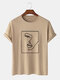 Mens Line Drawing Abstract Face Graphic Street Short Sleeve T-Shirts - Khaki