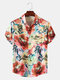 Mens Watercolor Floral Print Chest Pocket Holiday Short Sleeve Shirts - Red