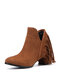 Women Tassel boots Casual Pointed Toe Chunky Heel Ankle Moccasin Boots - Camel