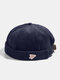 Unisex Corduroy Solid Color Letter Cloth Label All-match Warmth Brimless Beanie Landlord Cap Skull Cap - Navy