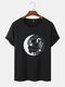 Mens Celestial Cactus Graphic 100% Cotton Short Sleeve T-Shirts - Black