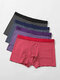 Mens Striped Modal Breathable Thin 4Pcs Mid Waist Home Boxers Briefs - Multicolor