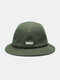 Men Linen Solid Color Letter Patch Fashion Sunshade Bucket Hat - Green