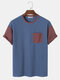 Mens Two Tone Stitching Knitted Pocket Short Sleeve T-Shirt - Blue