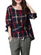 Linen Plaid Square Collar Long Sleeve Shirt