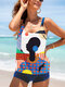 Plus Size Women Abstract Figure Print Backless Cover Belly Tankinis Swimsuit - #3