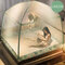 Moustiquaire à trois portes pour lit adulte Portable anti-moustique moustiquaire tente filet en maille - vert