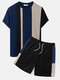 Mens Knitted Contrasting Color Stitching Short Sleeve Two Pieces Outfits - Blue