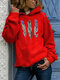 Feather Print Hooded Long Sleeve Casual Hoodie For Women - Red