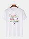 Mens Reflective Rainbow Cat Graphic Street 100% Cotton Short Sleeve T-Shirts - White