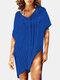 女性のかぎ針編みの中空カバーはプレーンVネックサイドスリットライト水着を持ち上げます - #02