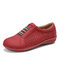 LOSTISY Stitching Round Toe Elastic Band Hollow Out Slip On Casual Flats - Red