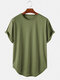 Mens Basic Solid Color Casual Breathable & Thin O-Neck T-Shirts - Army Green