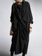 Casual Solid Color Pockets Long Sleeve Pleated Dress - Black