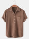 Mens Solid Color Loose Casual Chest Pocket Short Sleeve Henley Shirts - Brown