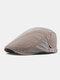 Men Cotton Patchwork Color Forward Hat Beret Hat Flat Cap - Khaki