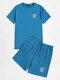 Mens Letter Graphics Crew Neck Short Sleeve T-Shirt & Drawstring Shorts Co-ords - Blue