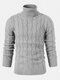 Mens Twisted Knitted High Neck Solid Color Casual Basic Sweater - Gray