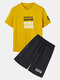 Mens Slogan Printed Loose Light & Breathable Sportswear Two-piece Suits - Yellow
