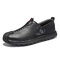 Men Hand Stitching Rubber Toe Cap Slip On Soft Leather Loafers - Black