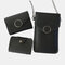 Women Casual 3PCS Touch Screen 6.3 Inch Solid Chain Phone Crossbody Bag - Black