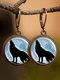 Vintage Animal Printed Women Earrings Cat Dog Glass Pendant Earrings - #13