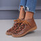 Large Size Women Leopard Printed Vamp Lace-up Hand-stitched Boots - Brown