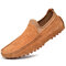 Men Genuine Leather Soft Sole Slip Resistant Casual Slip On Driving Shoes - Brown