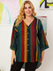 Striped Print Patchwork V-neck Plus Size Knotted Shirt for Women - Navy