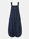 Women Corduroy Solid Color Casual Jumpsuit With Pockets - Navy
